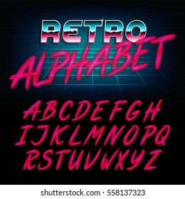 80's retro alphabet font. Glow effect shiny letters. Vector typeface for flyers, headlines, posters etc.