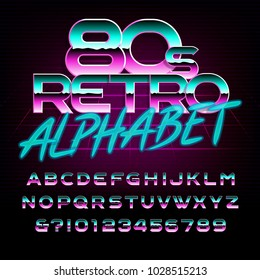 80's retro alphabet font. Metal effect letters and numbers. Stock vector typeface for any typography design.