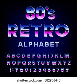 80's retro alphabet font. Metallic effect shiny letters and numbers. Vector typography for flyers, headlines, posters etc.