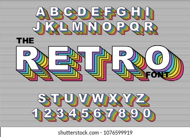 80's retro alphabet font. Rainbow Vintage Alphabet vector 80's, 90's Old style graphic poster set. Eighties style graphic template. Template easy editable for Your design. 80s rainbow style, vintage.