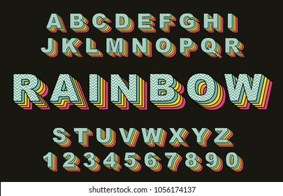 80's retro alphabet font. RainbowVintage Alphabet vector 80's, 90's Old style graphic poster set. Eighties style graphic template. Template easy editable for Your design. 80s rainbow style, vintage.