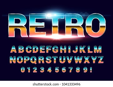80's retro alphabet font. Sci-fi future style. Vector typeface for flyers, headlines, posters etc