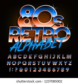 80s retro alphabet font. Uppercase oblique shiny gradient letters and numbers. Stock vector typescript for your design in 80s style.