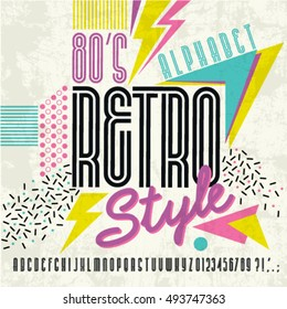 80's retro alphabet font. Retro Alphabet vector Old style graphic poster. Eighties style graphic template.