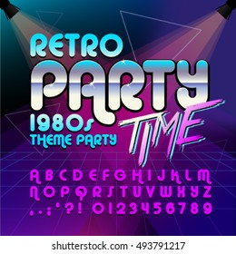 80's retro alphabet font. Retro Alphabet vector poster. Retro party time. Old style graphic. Eighties style graphic template.