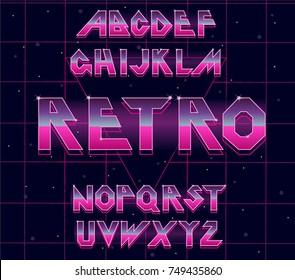 80's retro alphabet font. Vector typography for flyers, headlines, posters. Effect shiny letters. 80s neon style, vintage dance night. Retro Futurism Sci-Fi Font Alphabet Vector.3d set elements design