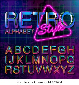 80's retro alphabet font. Vintage Alphabet vector  80's, 90's Old style graphic poster set. Eighties style graphic template. Template easy editable for Your design.