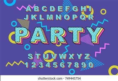 80's retro alphabet font. Vintage Alphabet vector 80's, 90's Old style graphic poster set. Eighties style graphic template. Template easy editable for Your design.80s neon style,vintage dance night.