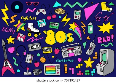 80s Retro Clipart Hand Drawn Illustrations with Eighties technology, gaming, leisure, fashion, and shapes.