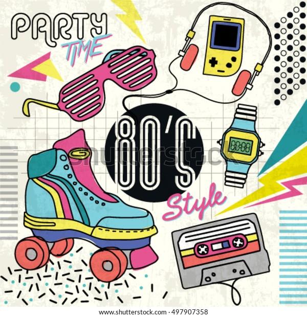 80er Jahre Retro-Elemente Farbiger Hintergrund. Vintage-Vektorgrafik-Poster. Grafikvorlage im Stil von Achtzigern. Einfach editierbar für Ihr Design.