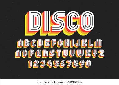 80's retro font, disco style, alphabet and numbers vector illustration