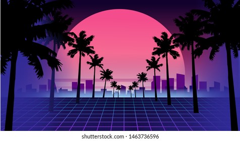 80s retro future. Retro futuristic background 1980s style. Road to the city at sunset 1980s style. Digital retro cityscape sci-fi summer landscape. Suitable for any print design in 80s style