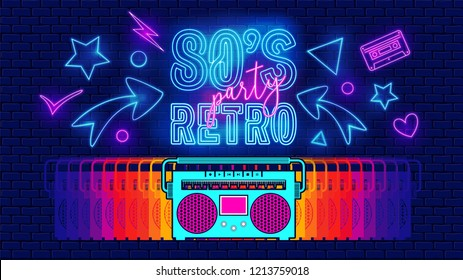 80s, retro, future music party banner or cover. Old style vector poster. Disco fluorescent neon style for eighties party. 1980 radio cassette player. Fashion background easy editable template