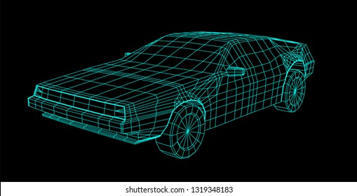 80s Retro Future Wireframe 3D Car Illustration. Sci-fi futuristic supercar vector with editable paths in synthwave style.