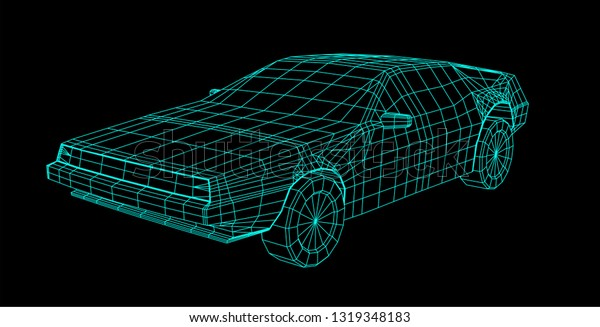 80s Retro Future Wireframe 3d Car Stock Vector (Royalty Free