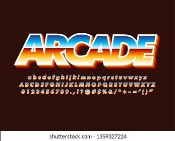 80s retro futurism arcade game font, orange metallic and shiny effect, casual retro game logo