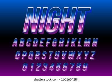 80s retro futurism font, Blue metallic and shiny effect, retro outrun synthwave