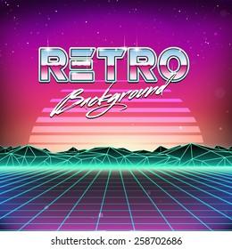 80s Retro Futurism Sci-Fi Background