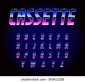 80's Retro Futurism Sci-Fi Font Alphabet Vector