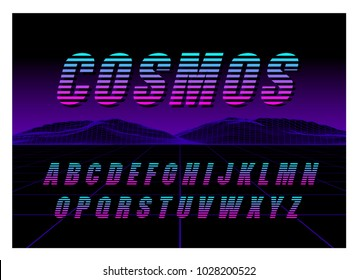80's Retro Futurism style Font. Vector Brush Stroke Alphabet. Retro Futurism Old VHS Style. Futuristic Gaming or Music