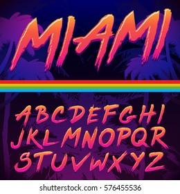 80s Retro Futurism style Font. Vector Brush Stroke Alphabet.