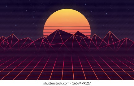 80s Retro futuristic background with laser grid and retro sunset. Neon retro background for games, vaporwave music. Vector illustration