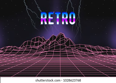 80s retro music cover with neon light and lightnings. Wireframe futuristic landscape. Artificial Intelligence abstract background.