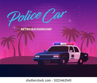 80s retro neon gradient background. Vintage police car. Palms and city. Tv glitch effect. Sci-fi beach.
