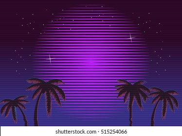 80s Retro Neon gradient background. Palms and sun. Tv glitch effect. Sci-fi beach