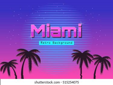 80s Retro Neon gradient background. Palms and sun. Tv glitch effect. Sci-fi Miami beach