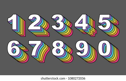 80's retro numbers. Rainbow Vintage Alphabet vector 80's, 90's Old style graphic poster set. Eighties style graphic template. Template easy editable for Your design. 80s rainbow style, vintage.