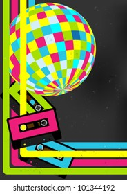80's Retro Party Background - Audio Cassette Tapes and Disco Ball