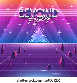 80s Retro Sci-Fi Background with Colorful Effects. Vector futuristic synth retro wave illustration in 1980s posters style. Suitable for any print design in 80s style.