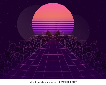 80s retro sci-fi background. Futuristic landscape in virtual reality. Synthwave and retrowave style. Vector illustration