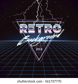 80s Retro Sci-Fi Background with Lightnings. Vector futuristic synth retro wave illustration in 1980s posters style. Suitable for any print design in 80s style.