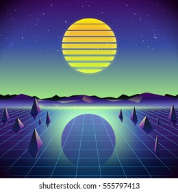 80s Retro Sci-Fi Background with Moon and Mountains. Vector futuristic synth retro wave illustration in 1980s posters style. Suitable for any print design in 80s style.