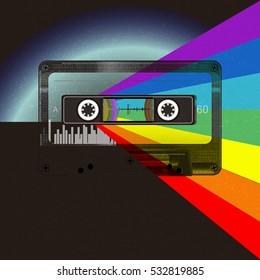 80s Retro Sci-Fi Background. Musical futuristic background, audio cassette on planet earth, rainbow, retro music vector cover