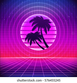 80s Retro Sci-Fi Background with Palms. Vector futuristic synth retro wave illustration in 1980s posters style. Suitable for any print design in 80s style.