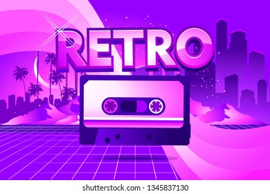 80s Retro Sci-Fi Background in the style of the 1980s posters. Old cassette tape, against the backdrop of a tropical landscape and the silhouette of a neon futuristic city