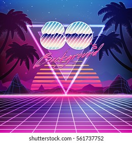 80s Retro Sci-Fi Background with Summer Landscape. Vector futuristic synth retro wave illustration in 1980s posters style. Suitable for any print design in 80s style.