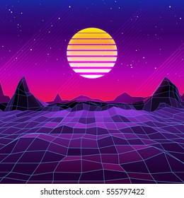 80s Retro Sci-Fi Background with Sun and Mountains. Vector futuristic synth retro wave illustration in 1980s posters style. Suitable for any print design in 80s style.