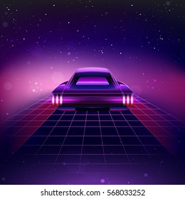 80s Retro Sci-Fi Background with Supercar. Vector retro futuristic synth retro wave illustration in 1980s posters style. Suitable for any print design in 80s style.