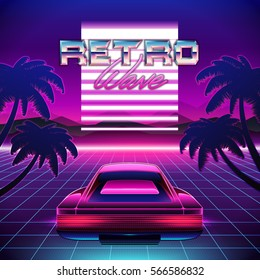 80s Retro Sci-Fi Background. Vector retro futuristic synth retro wave illustration in 1980s posters style. Suitable for any print design in 80s style.