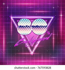 80s Retro Sci-Fi Background. Vector futuristic synth retro wave
