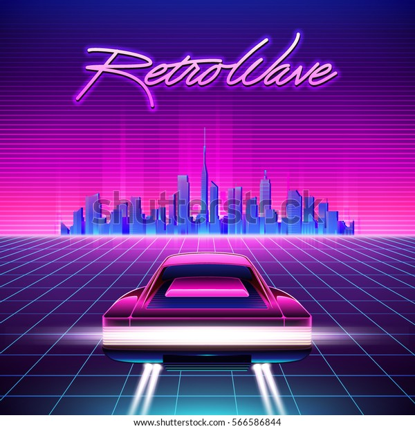 80s Retro Scifi Background Vector Retro Stock Vector