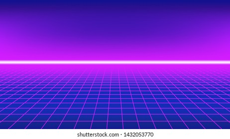 80s style background. Perspective grid with neon horizon line