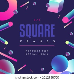 80's style social media square frame / electronic music poster.