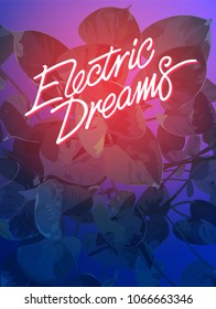 80's style tropic Araceae leaves graphic template/ neon electric dreams fonts, violet and pink gradient colour background