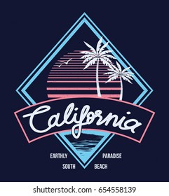 80's Style Vintage Retro California Slogan summer surf and Palm Beach style vector design tropical paradise scene with palm and typography for t-shirt and apparels print, vector illustration