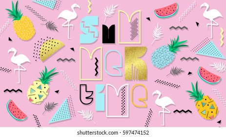 80s, summer color poster and banner in trendy 80s-90s Memphis style. Vector texture colorful design with watermelon, pineapple, letter, flamingo for web. Easy editable for Your design.